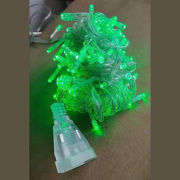 Pisca LED Verde 100 Lâmpadas Luz Fixa 127V com Conector M/F Fio Transparente Cromus