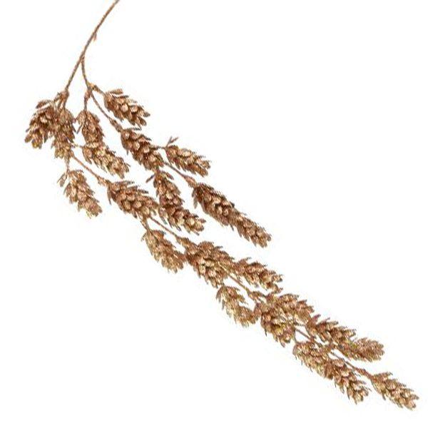 Galho de Natal Dourado Pinhas com Glitter 70cm Tok da Casa 3 unidades