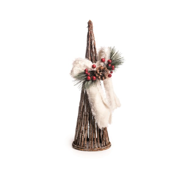 Árvore de Natal Decorativa Cone Rústico Chalé com Laço Cromus 45cm