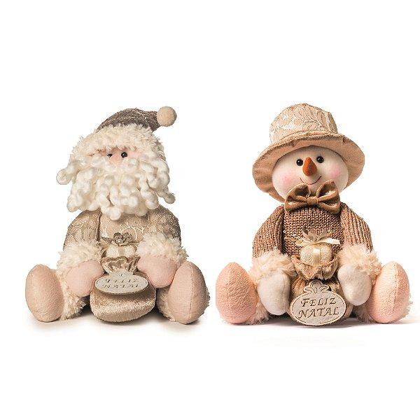 Papai Noel e Boneco de Neve Decorativo Dourado Cromus Atenas Sentado 25cm
