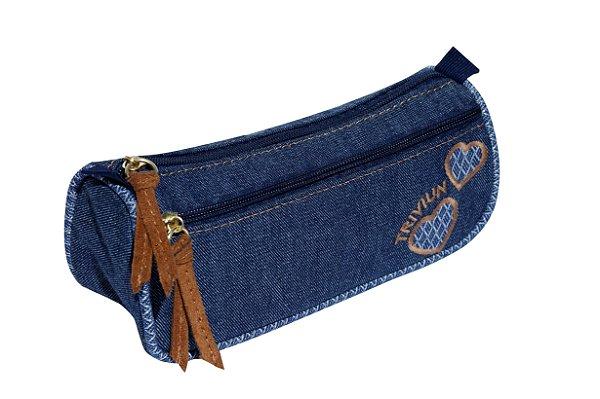 Estojo Escolar TN Bolsas Tecido 2 Compartimentos Jeans Corações