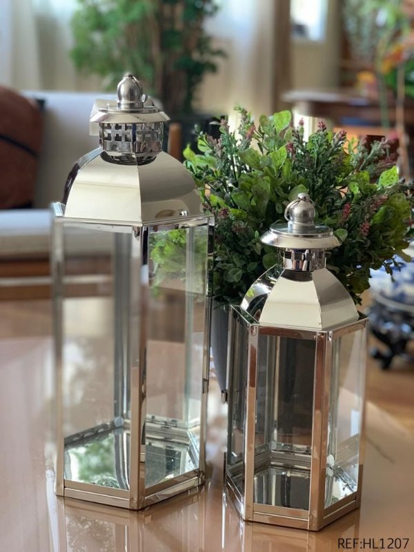 Kit Lanterna Decorativa Marroquina Prata Aço Inox 2 Peças