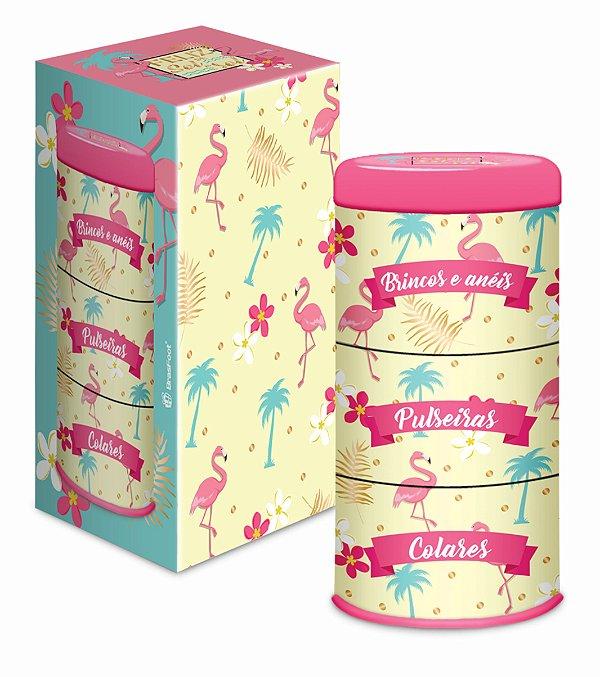 Porta Jóia de Lata Flamingo 3 Divisórias