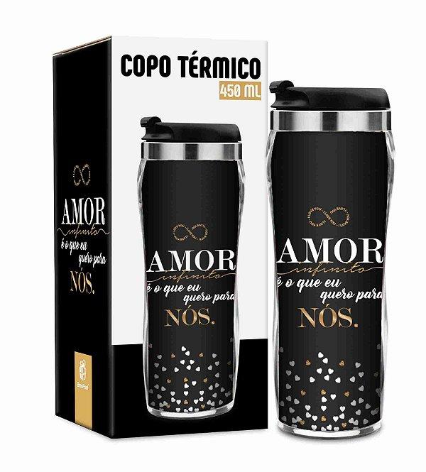Copo Térmico para Viagem Amor Infinito 450ml