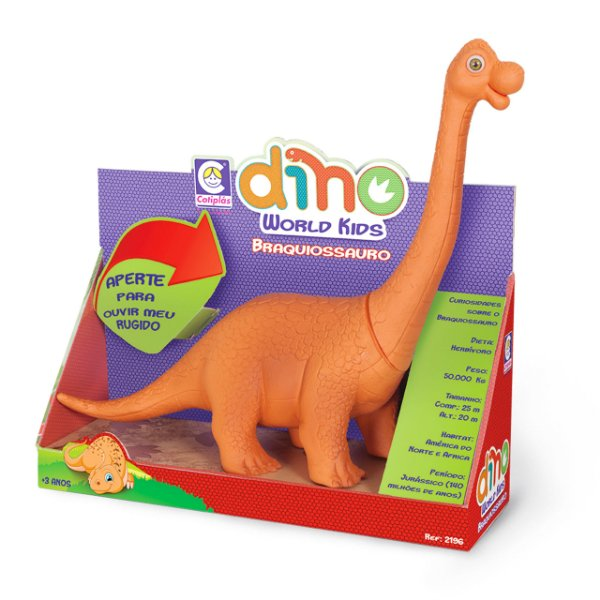 Dinossauro com Som Cotiplás Braquiossauro Dino World Kids