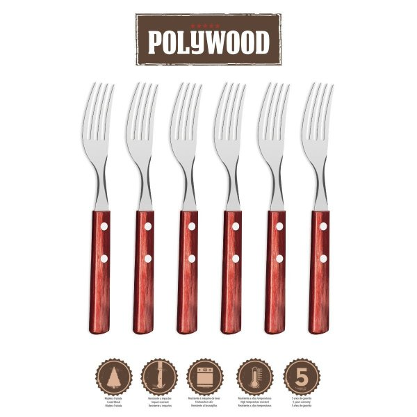 Conjunto de Garfos Tramontina Polywood 6 peças