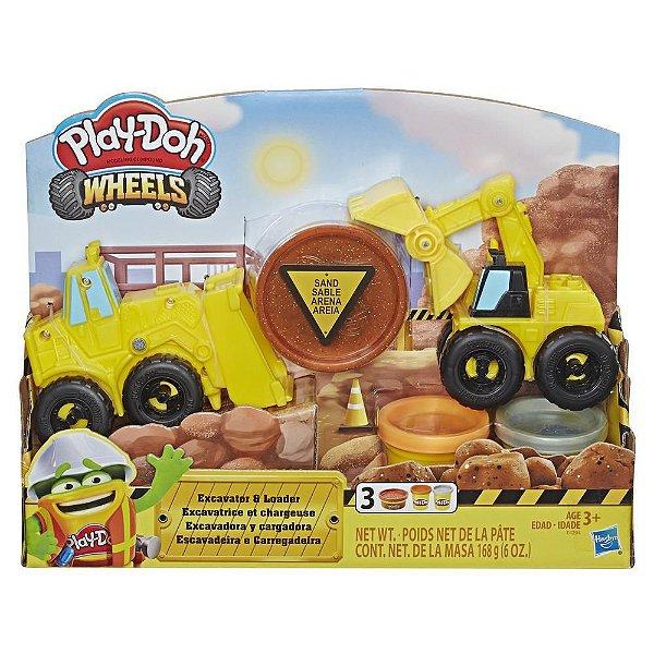Massa de Modelar Play Doh Hot Wheels Escavadeira e Carregadeira