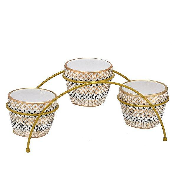 Trio de Vasos no Suporte Branco com Dourado 16 cm