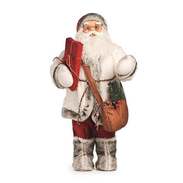 Papai Noel Decorativo Vermelho e Branco com Sacola 60 cm