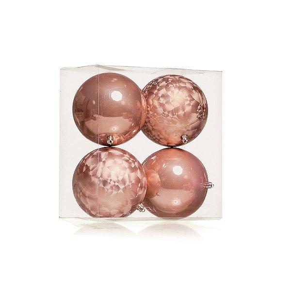 Bola de Natal Rose Gold Cromus 10 cm Jogo 4 unidades