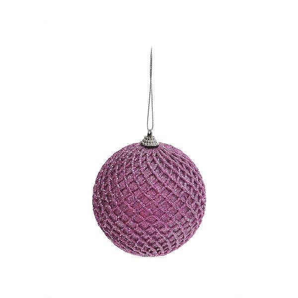 Bola de Natal Rosa Cromus com Glitter Quadriculada 8 cm 6 unidades