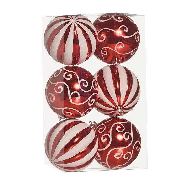 Bola de Natal Cromus Vermelha e Branca Arabesco e Listras 8 cm 6 unidades