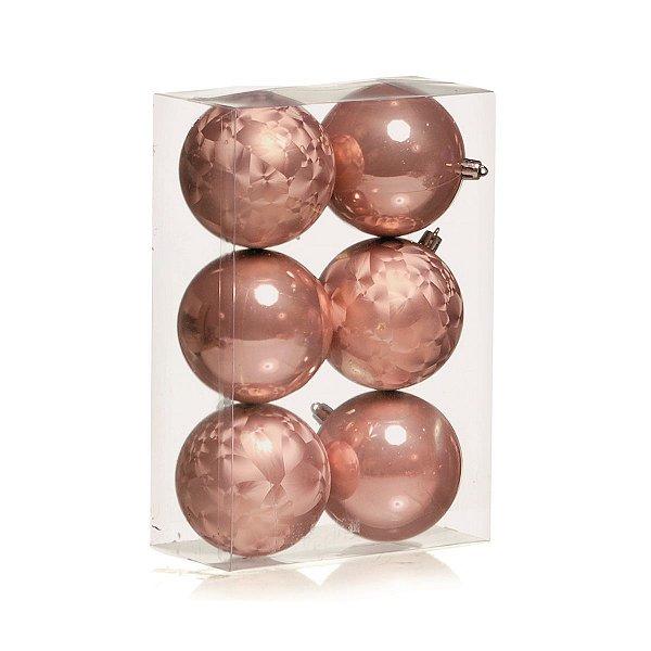 Bola de Natal Rose Gold Cromus 8 cm Pinha e Lisa 6 unidades