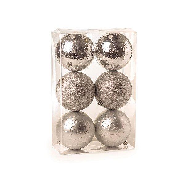 Bola de Natal Cromus Prata Brilho, Mate e Glitter 10 cm 6 unidades