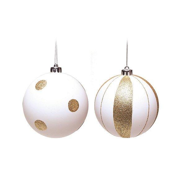 Bola de Natal Cromus Branca com Dourado 8 cm Poa e Listras 4 unidades