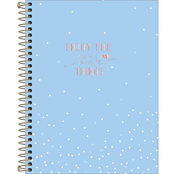 Caderno Colegial Tilibra Soho 2020 Azul com Bolinhas 1 Matéria 80fls
