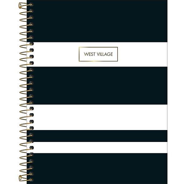 Caderno Colegial Tilibra West Village 2020 Preto Listras Brancas 10 Matérias 160fls