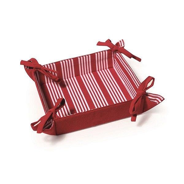 Cesta para Pães Tecido Cromus Homemade Vermelha com Listras