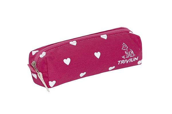Estojo Escolar Rosa Pink com Corações