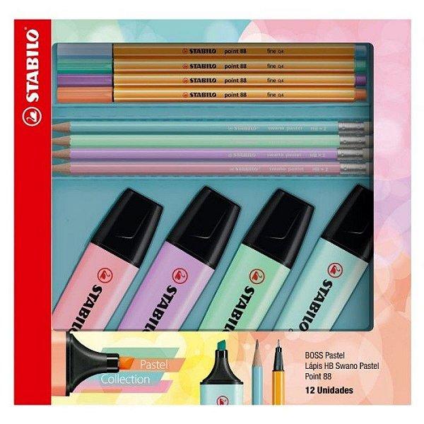 Kit Stabilo Pastel Collection 4 Boss Pastel + 4 Point 88 Pastel + 4 Lápis Swano Pastel