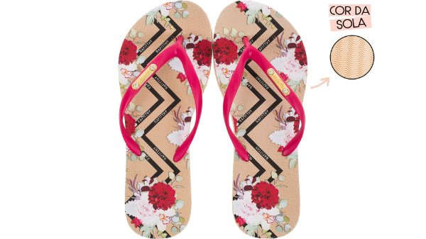 Chinelo Feminino Rafitthy Stripes Red Flowers 222.01702A
