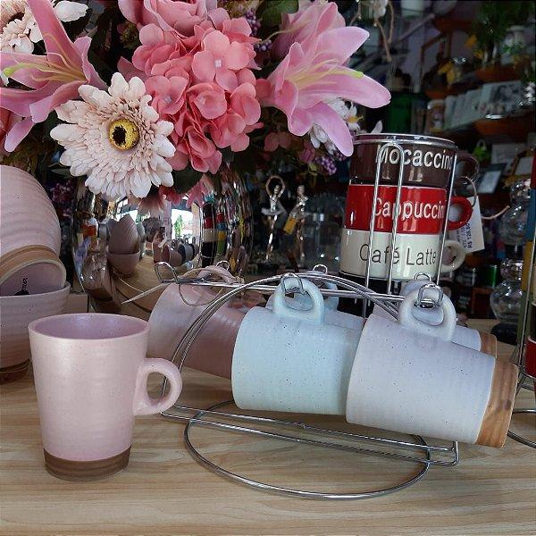 Jogo de Xícaras para Café com Suporte Colorido Romance 120ml 6 peças