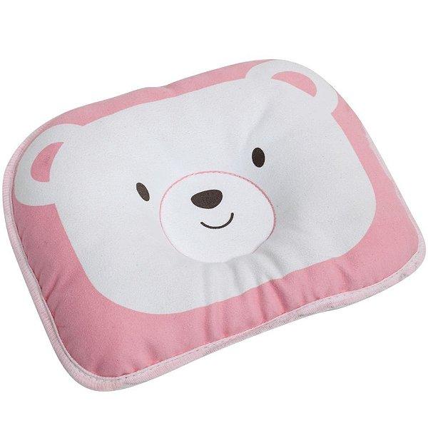 Travesseiro para Bebê Moleira Ursinho Rosa Buba
