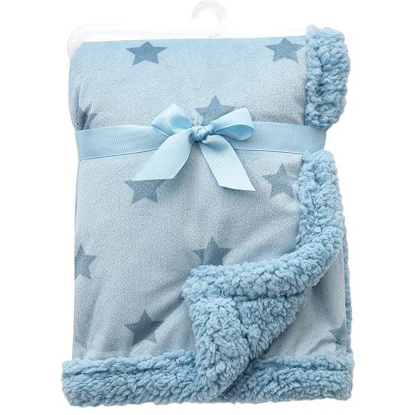 Mantinha para Bebê Dupla Face Estrelinha Buba Azul