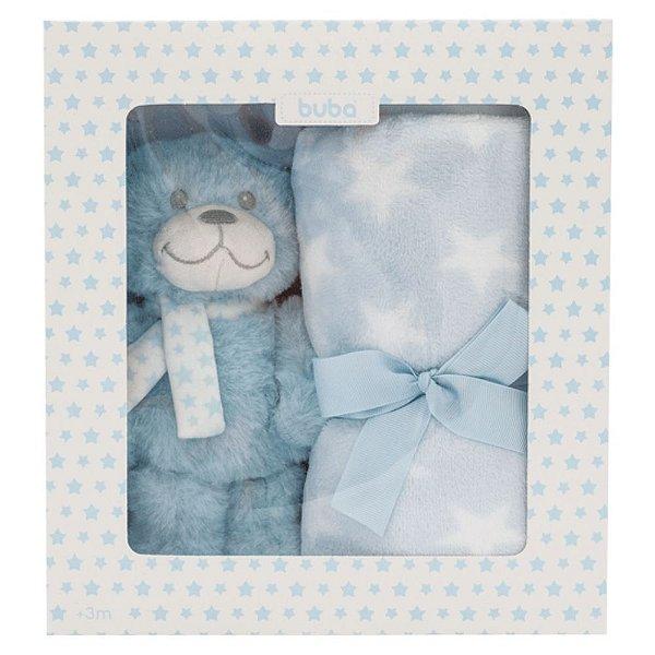 Kit para Bebê Buba Ursinho Star Azul Manta + Ursinho