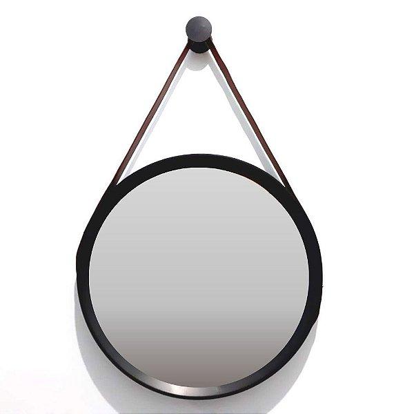 Espelho Redondo Preto com Cinto Marrom 39cm