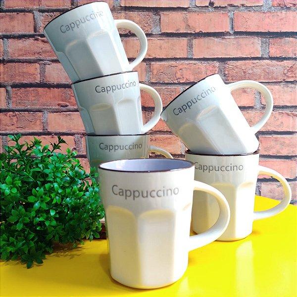 Jogo de Canecas Cappuccino Cerâmica Allure Lilás 270ml 6 peças