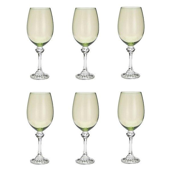 Jogo de Taças para Vinho Tinto Cristal Bohemia Elisa Kale Verde 220ml 6 peças