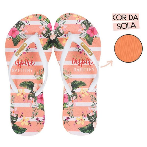 Chinelo Rafitthy Laranja Floral INSPIRE FLOWERS