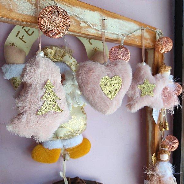 Enfeite para Árvore Cromus Coração, Estrela e Pinheiro Rosa Pelúcia Dolls Jogo 3 unidades