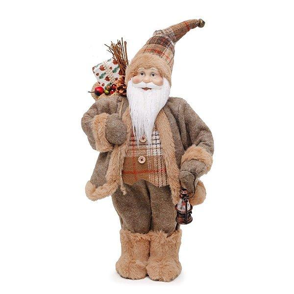 Papai Noel Cromus Camisa Xadrez Casaco Marrom com Lampião 46cm