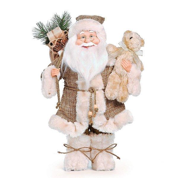 Papai Noel Cromus Casaco Marrom e Bege Segurando Ursinho 40cm