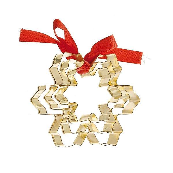 Cortador de Bolacha Floco de Neve Dourado Kit c/3 tamanhos