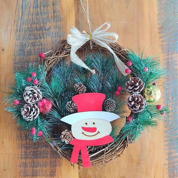 Guirlanda de Natal Cipó com Papai Noel 30cm