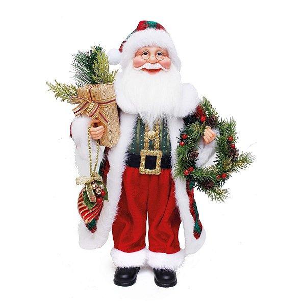 Papai Noel Cromus Roupa Vermelha com Guirlanda 45cm