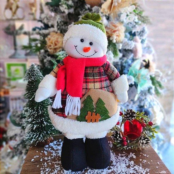 Boneco de Neve Decorativo Holly Blusa Xadrez 40cm