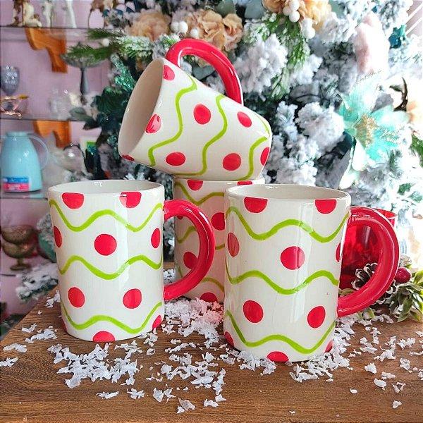 Conjunto Canecas de Natal Poa Vermelha 450ml 4 unidades