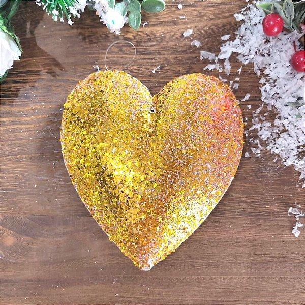 Enfeite Pendente Coração Dourado com Glitter Jogo 4 unidades