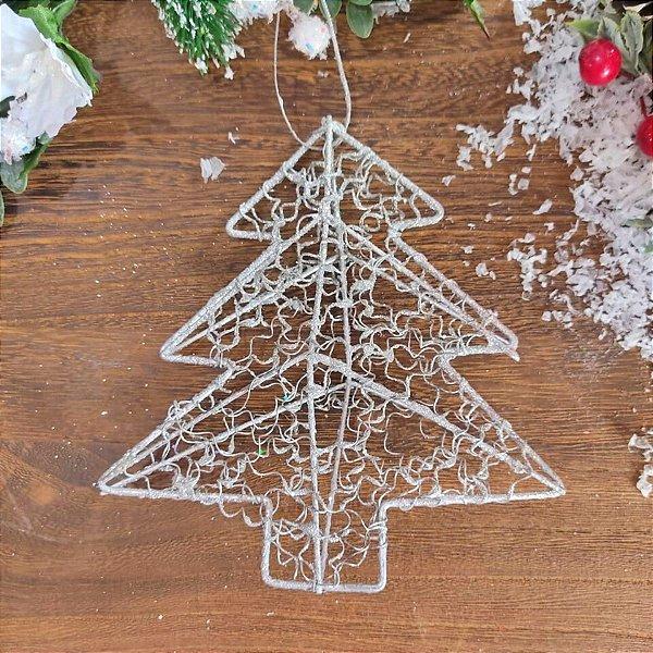 Enfeite para Árvore de Natal Pinheirinho de Metal Prata 6 unidades