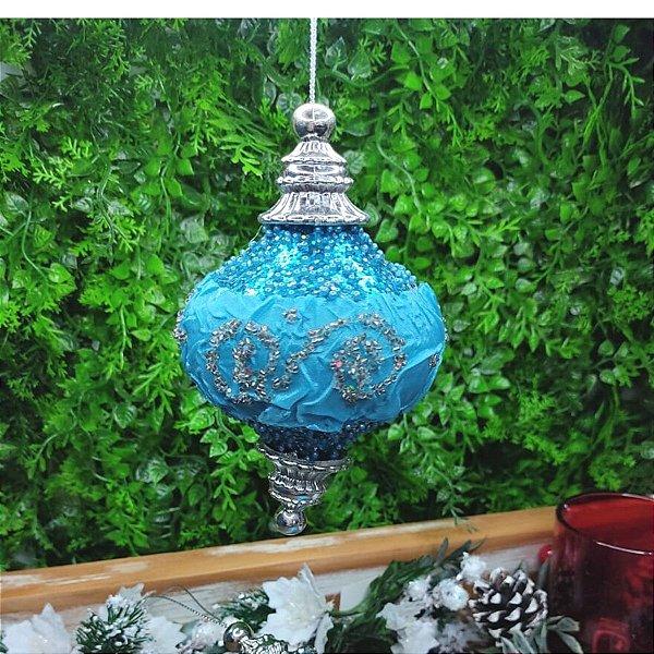 Bola de Natal Azul Tiffany com Prata Jogo 2 unidades