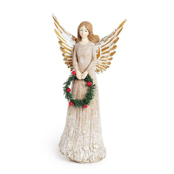 Anjo de Natal Decorativo com Guirlanda 32cm