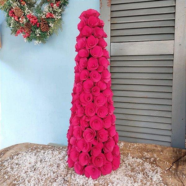 Árvore de Natal para Mesa Cone Rosas Vermelhas 54cm