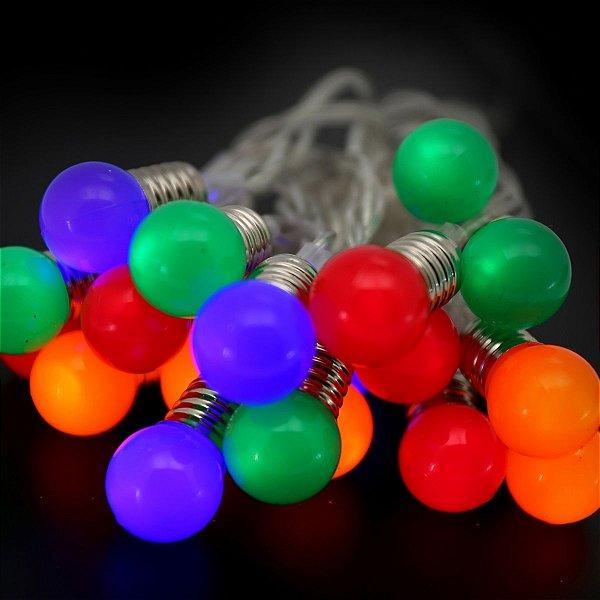 Pisca LED à Pilha Cordão Bola Colorida 20 Lâmpad 2m Luz Fixa