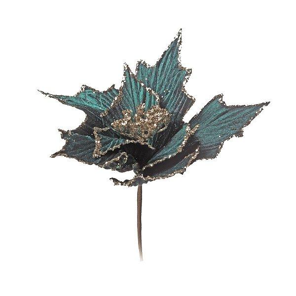 Flor de Natal Verde Escuro 25cm 3 unidades