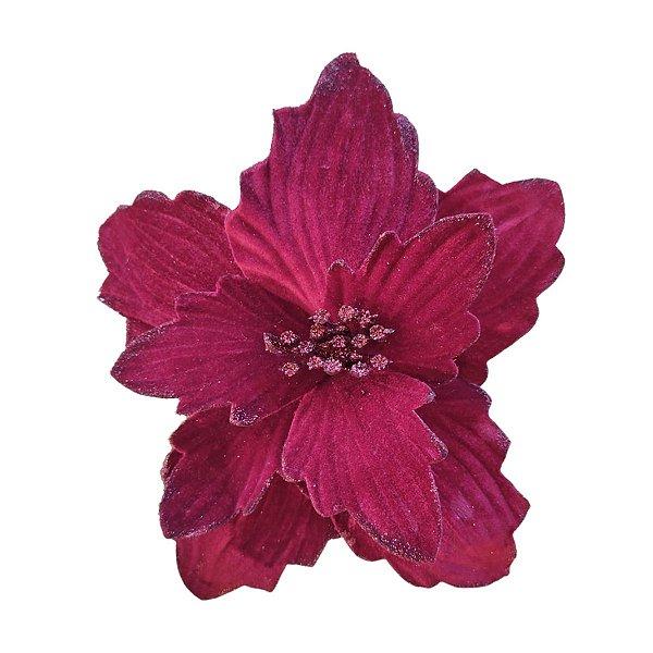 Flor de Natal Vermelho Vinho Poinsetia Cabo Longo 50cm 4 unidades