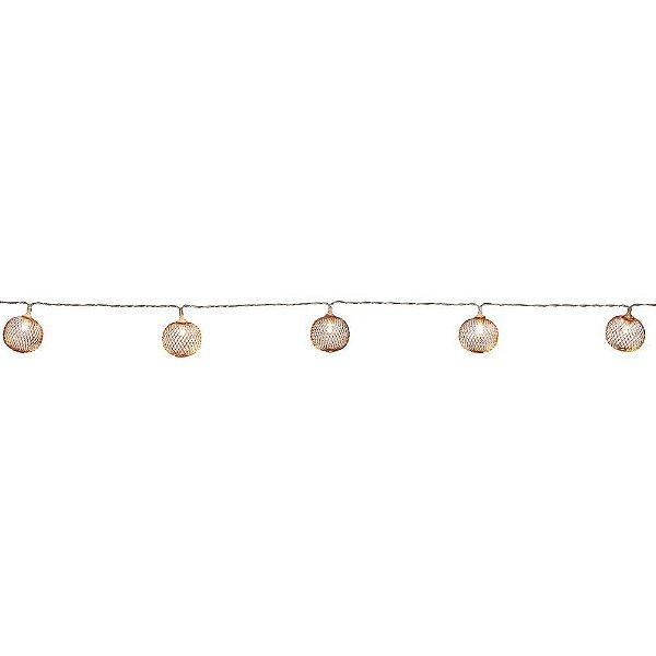 Pisca LED Cordão Bolas Aramadas Rose 10 Bolas 1,65m à Pilha